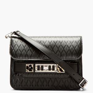 Black Embossed Leather PS11 Mini Shoulder Bag, NWT
